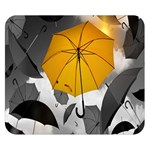 Umbrella Yellow Black White Double Sided Flano Blanket (Small)  50 x40 Blanket Front