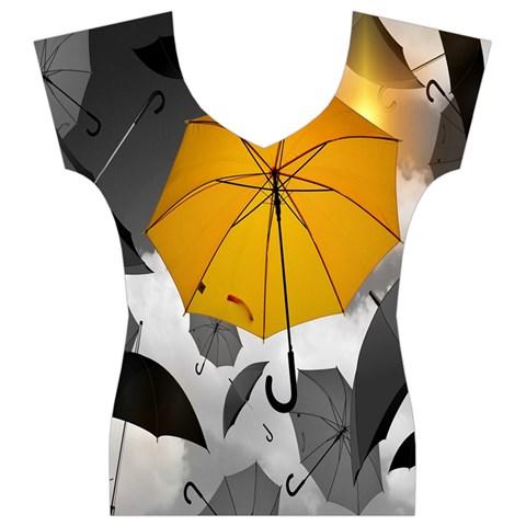 Umbrella Yellow Black White Women s V-Neck Cap Sleeve Top