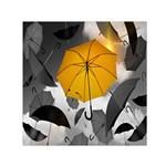 Umbrella Yellow Black White Small Satin Scarf (Square) Front