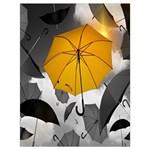 Umbrella Yellow Black White Drawstring Bag (Large) Front