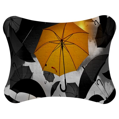 Umbrella Yellow Black White Jigsaw Puzzle Photo Stand (Bow)