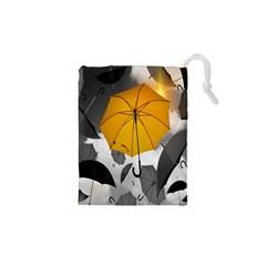 Umbrella Yellow Black White Drawstring Pouches (XS)