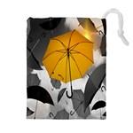Umbrella Yellow Black White Drawstring Pouches (Extra Large) Front