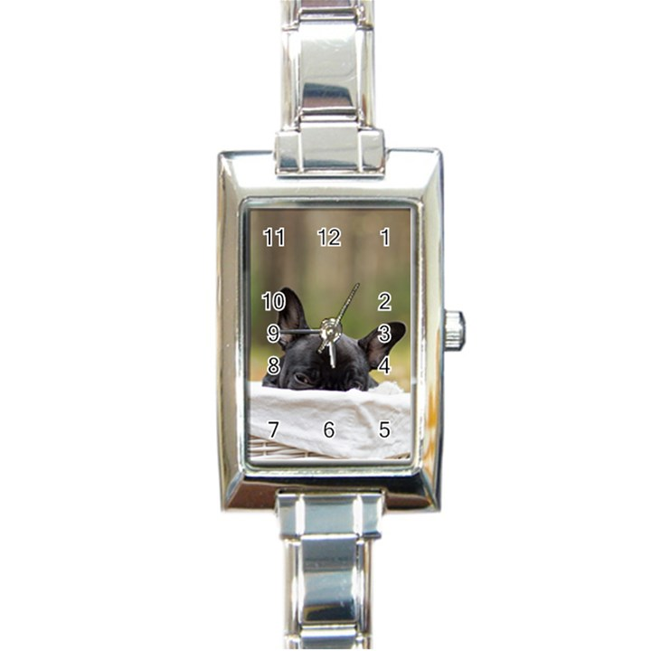 French Bulldog Peeking Puppy Rectangle Italian Charm Watch