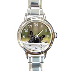 French Bulldog Peeking Puppy Round Italian Charm Watch
