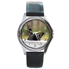 French Bulldog Peeking Puppy Round Metal Watch