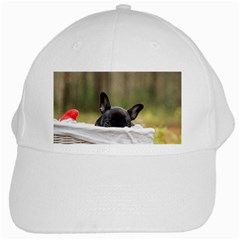 French Bulldog Peeking Puppy White Cap