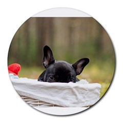 French Bulldog Peeking Puppy Round Mousepads