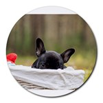 French Bulldog Peeking Puppy Round Mousepads Front