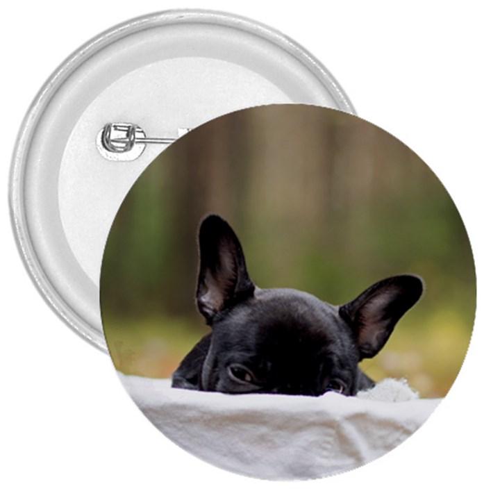 French Bulldog Peeking Puppy 3  Buttons