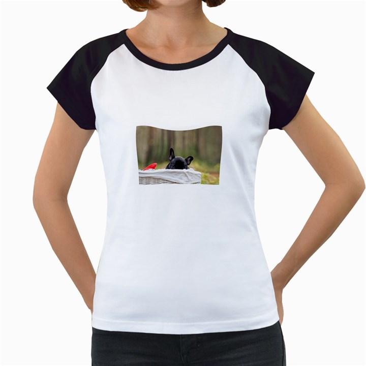 French Bulldog Peeking Puppy Women s Cap Sleeve T