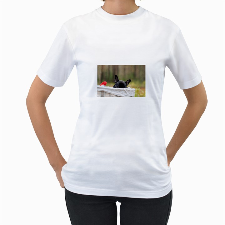 French Bulldog Peeking Puppy Women s T-Shirt (White) (Two Sided)