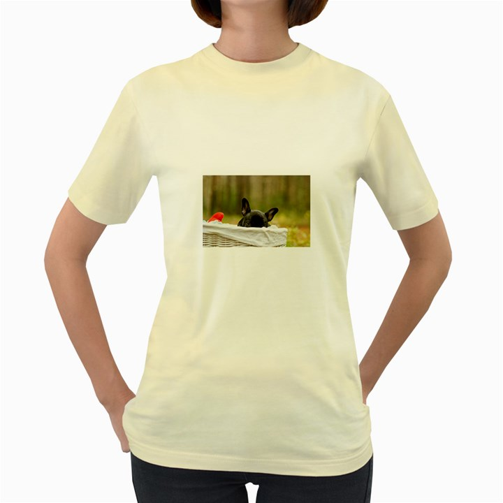 French Bulldog Peeking Puppy Women s Yellow T-Shirt