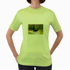 French Bulldog Peeking Puppy Women s Green T-Shirt