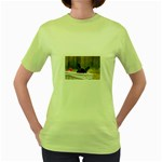 French Bulldog Peeking Puppy Women s Green T-Shirt Front