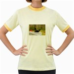 French Bulldog Peeking Puppy Women s Fitted Ringer T-Shirts Front