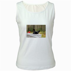 French Bulldog Peeking Puppy Women s White Tank Top