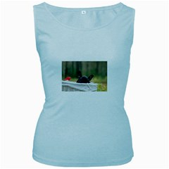 French Bulldog Peeking Puppy Women s Baby Blue Tank Top