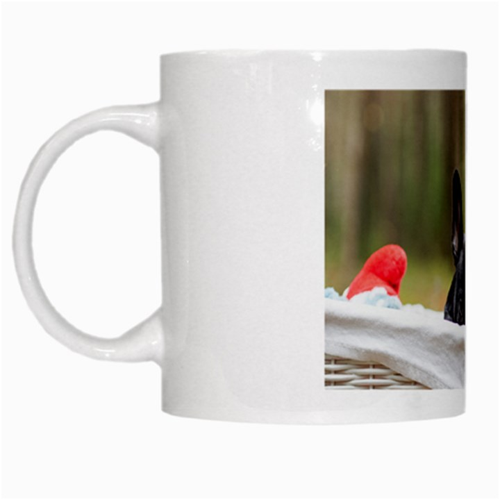 French Bulldog Peeking Puppy White Mugs