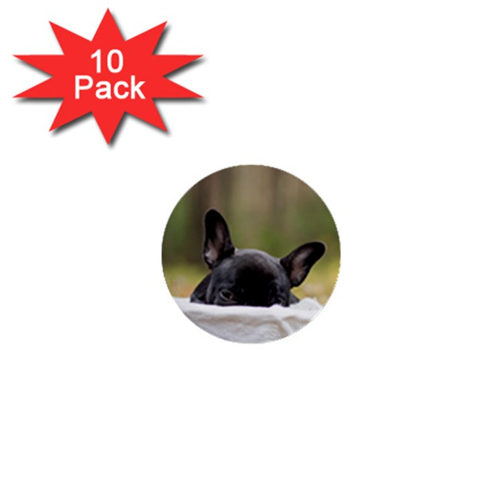 French Bulldog Peeking Puppy 1  Mini Buttons (10 pack)