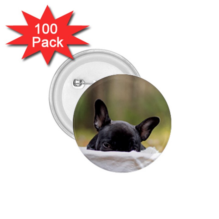 French Bulldog Peeking Puppy 1.75  Buttons (100 pack)