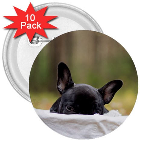 French Bulldog Peeking Puppy 3  Buttons (10 pack)