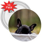 French Bulldog Peeking Puppy 3  Buttons (10 pack)  Front