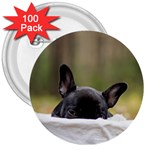French Bulldog Peeking Puppy 3  Buttons (100 pack)  Front