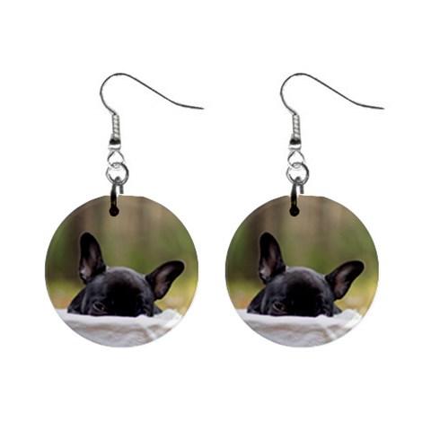 French Bulldog Peeking Puppy Mini Button Earrings