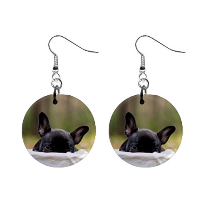 French Bulldog Peeking Puppy Mini Button Earrings