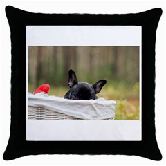 French Bulldog Peeking Puppy Throw Pillow Case (Black)