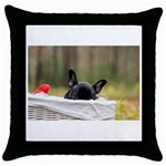 French Bulldog Peeking Puppy Throw Pillow Case (Black) Front