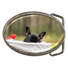 French Bulldog Peeking Puppy Belt Buckles