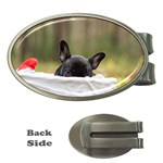 French Bulldog Peeking Puppy Money Clips (Oval)  Front