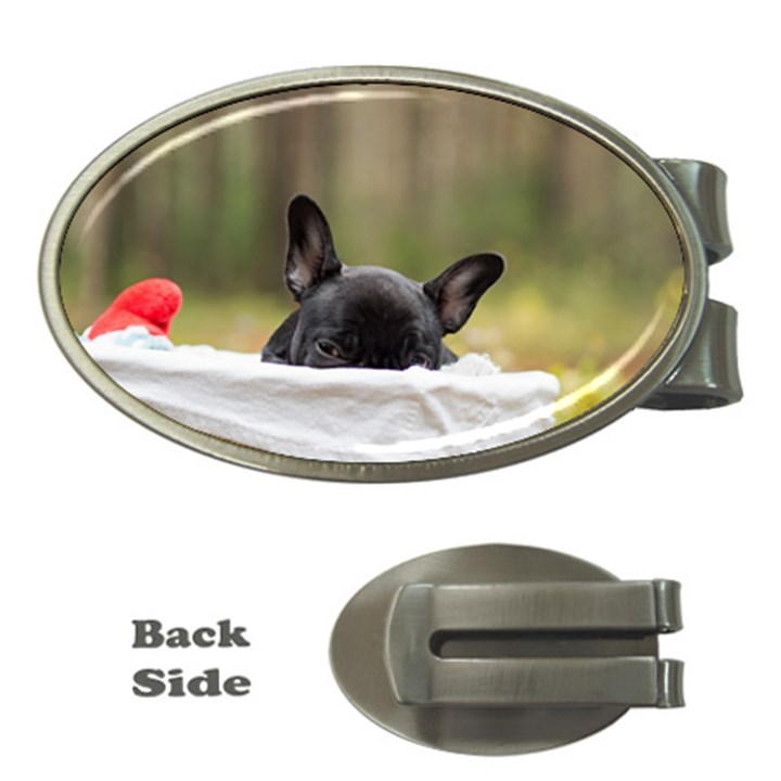 French Bulldog Peeking Puppy Money Clips (Oval)