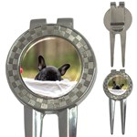 French Bulldog Peeking Puppy 3-in-1 Golf Divots Front