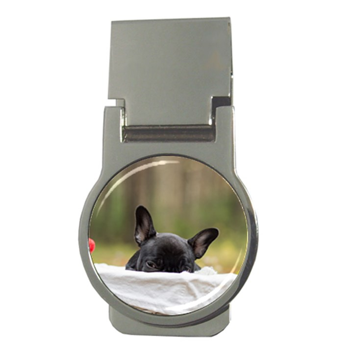French Bulldog Peeking Puppy Money Clips (Round)