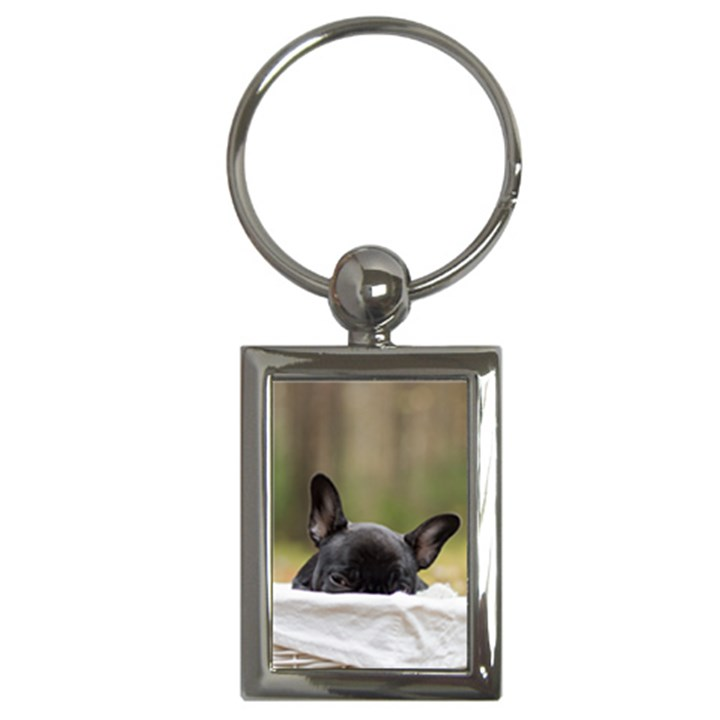 French Bulldog Peeking Puppy Key Chains (Rectangle)