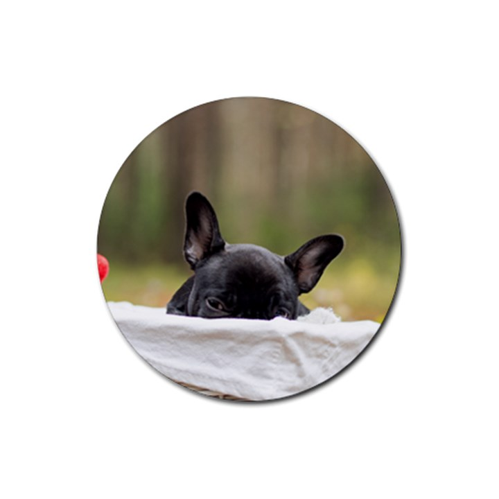 French Bulldog Peeking Puppy Rubber Coaster (Round)