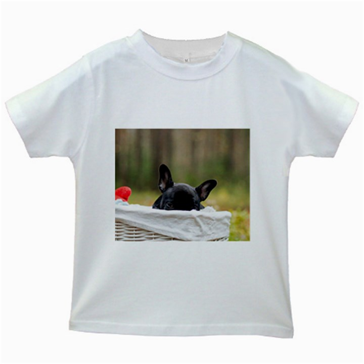 French Bulldog Peeking Puppy Kids White T-Shirts