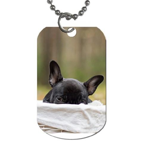 French Bulldog Peeking Puppy Dog Tag (One Side)