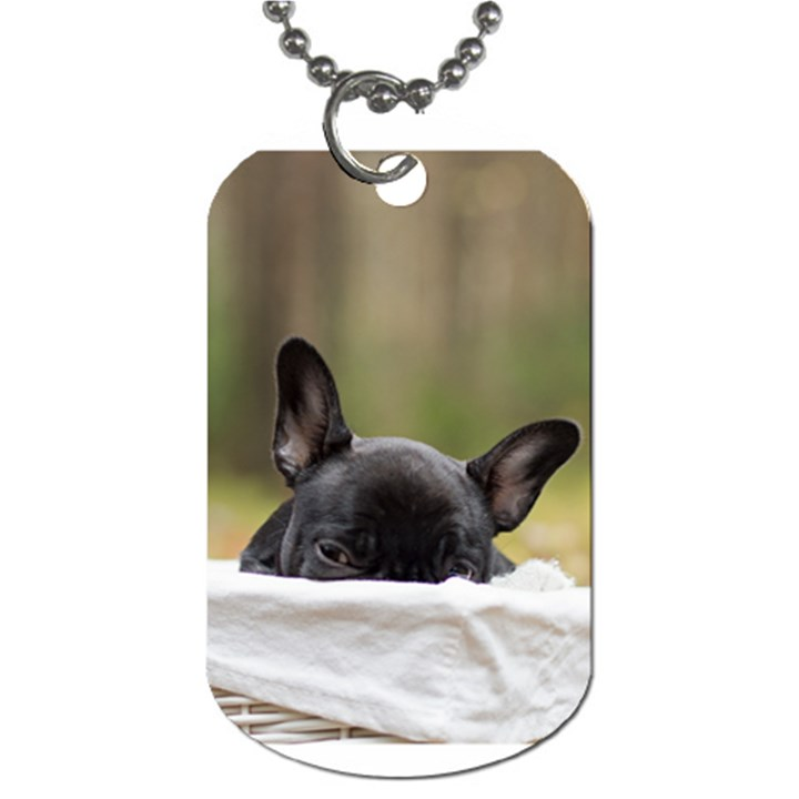 French Bulldog Peeking Puppy Dog Tag (One Side)