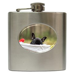 French Bulldog Peeking Puppy Hip Flask (6 oz)