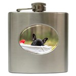 French Bulldog Peeking Puppy Hip Flask (6 oz) Front