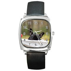 French Bulldog Peeking Puppy Square Metal Watch