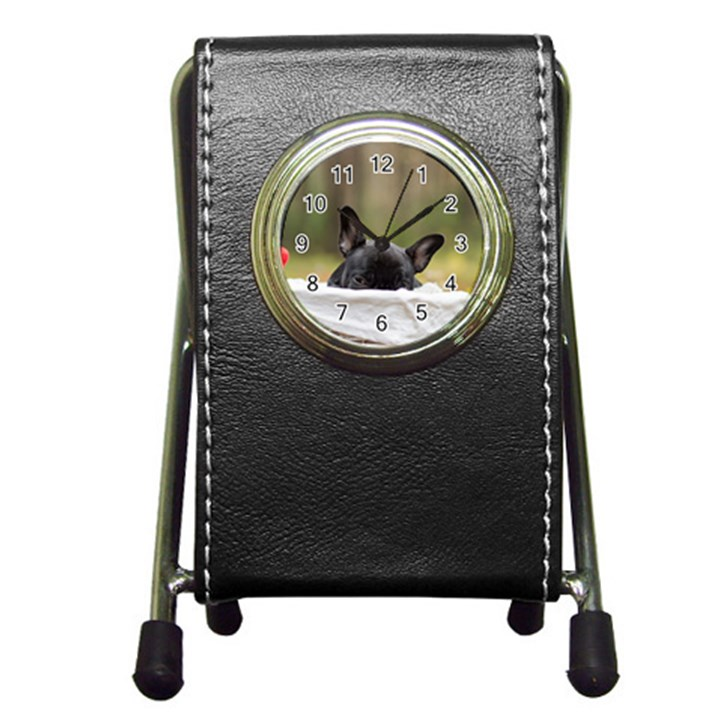 French Bulldog Peeking Puppy Pen Holder Desk Clocks