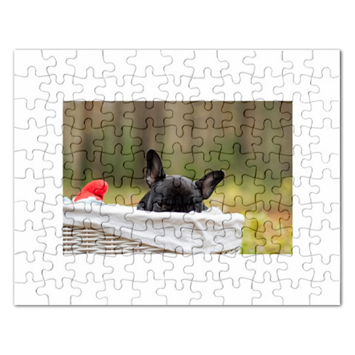 French Bulldog Peeking Puppy Rectangular Jigsaw Puzzl