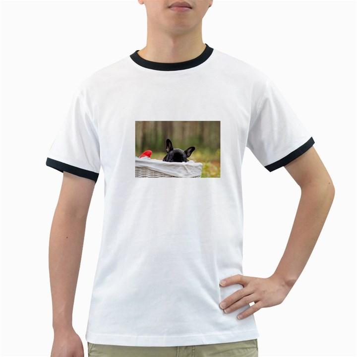 French Bulldog Peeking Puppy Ringer T-Shirts