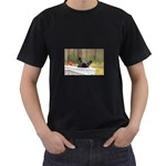 French Bulldog Peeking Puppy Men s T-Shirt (Black) (Two Sided) Front