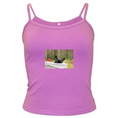 French Bulldog Peeking Puppy Dark Spaghetti Tank
